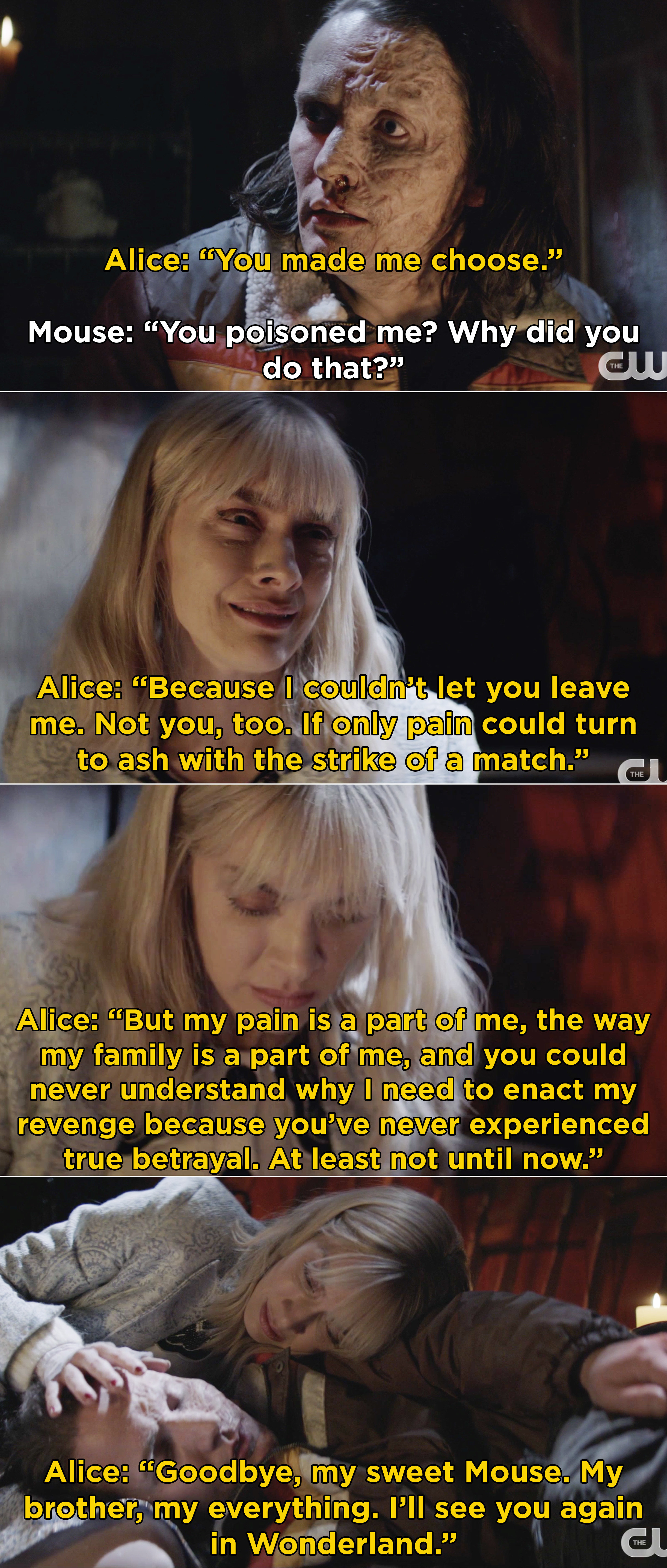 """Alice saying goodbye to Mouse after poisoning him and telling him, """"I'll see you again in Wonderland"""""""