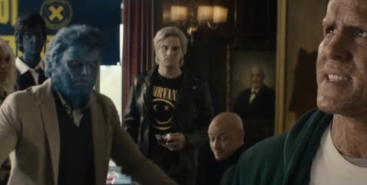 Deadpool walks past a room where the X-Men are avoiding him