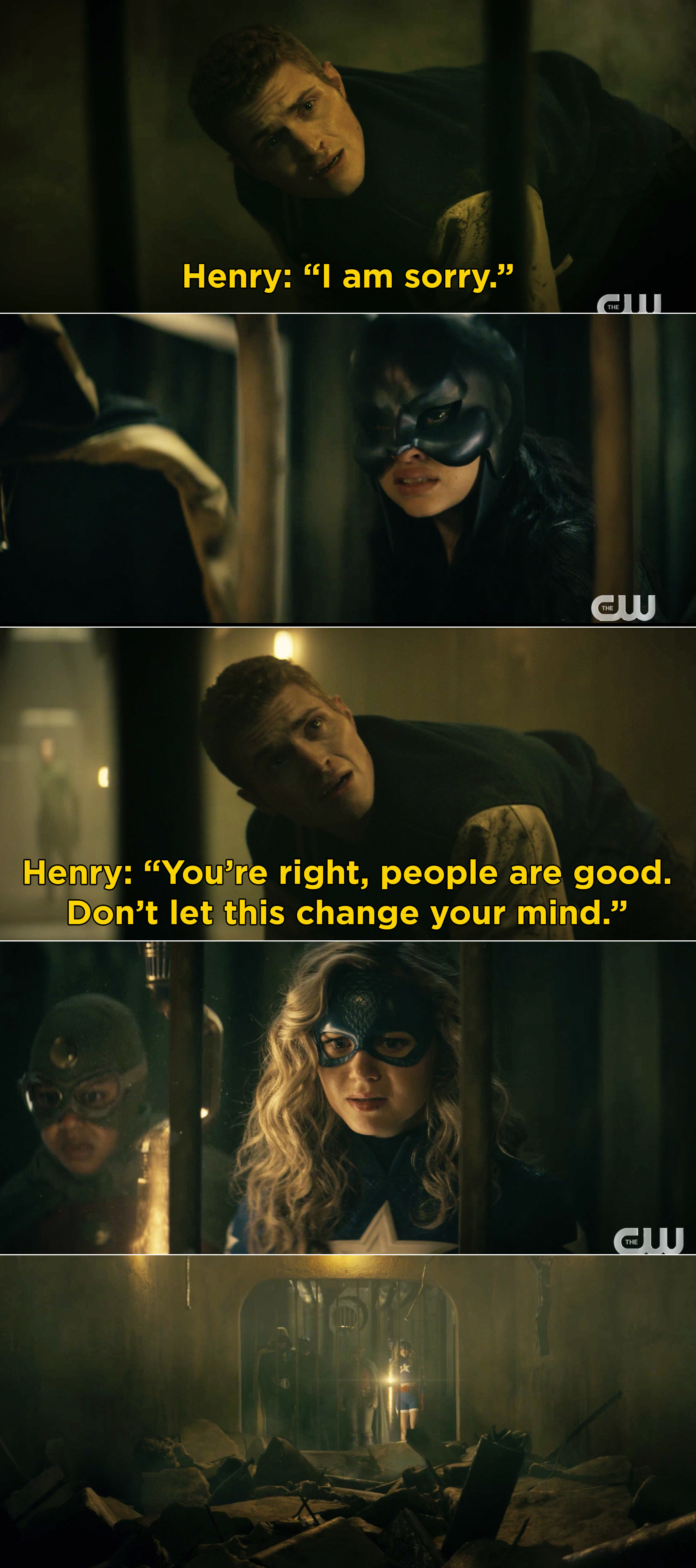 Henry telling Stargirl that she was right, people are good and don't let his death change that