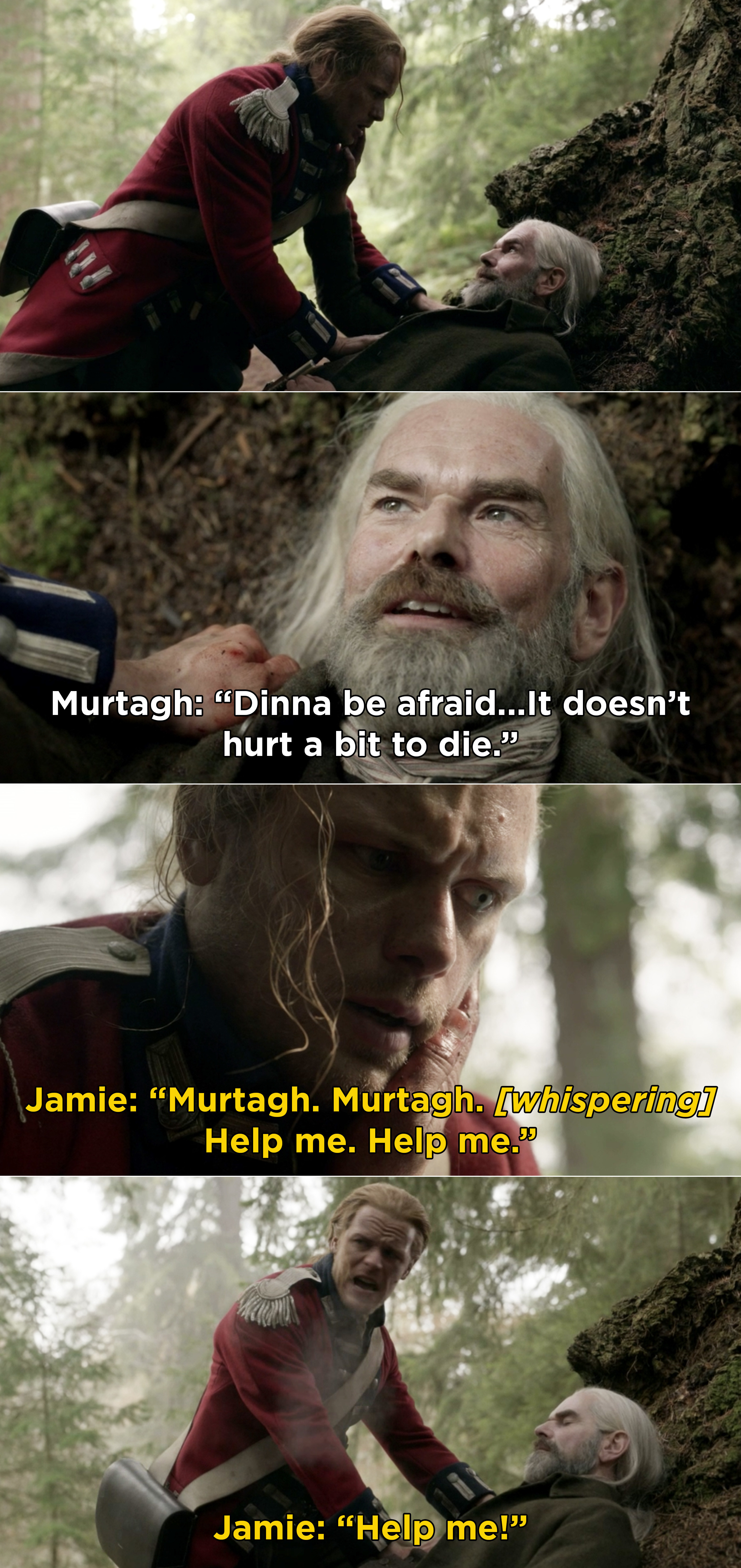 """Murtagh telling Jamie that it """"doesn't hurt to die"""" and Jamie crying and screaming for help"""