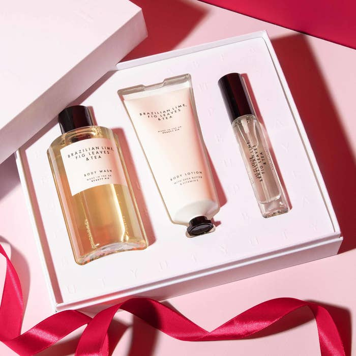 Three skincare products in set packaging
