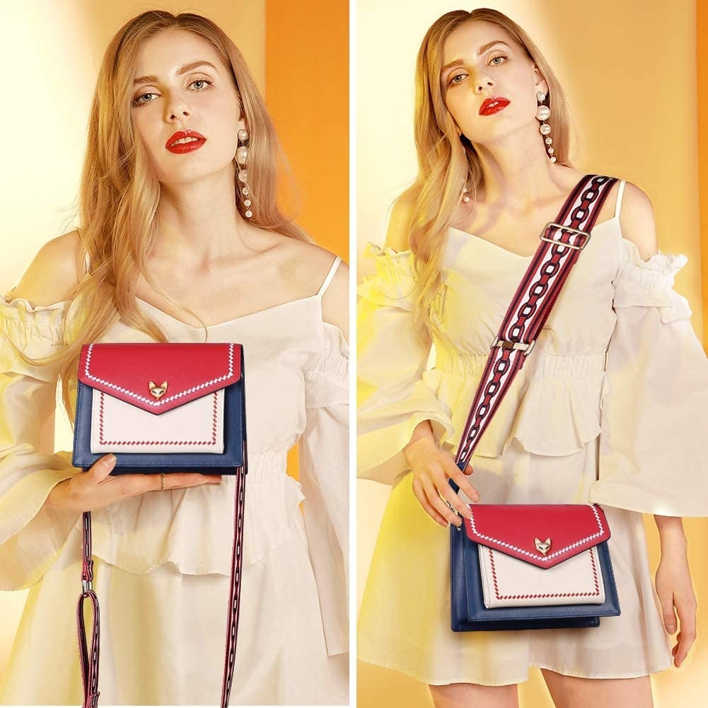 On the left: model holding the small square, white, red, and blue bag; on the right, model wearing it as a crossbody. It has a chain-print detail on the strap