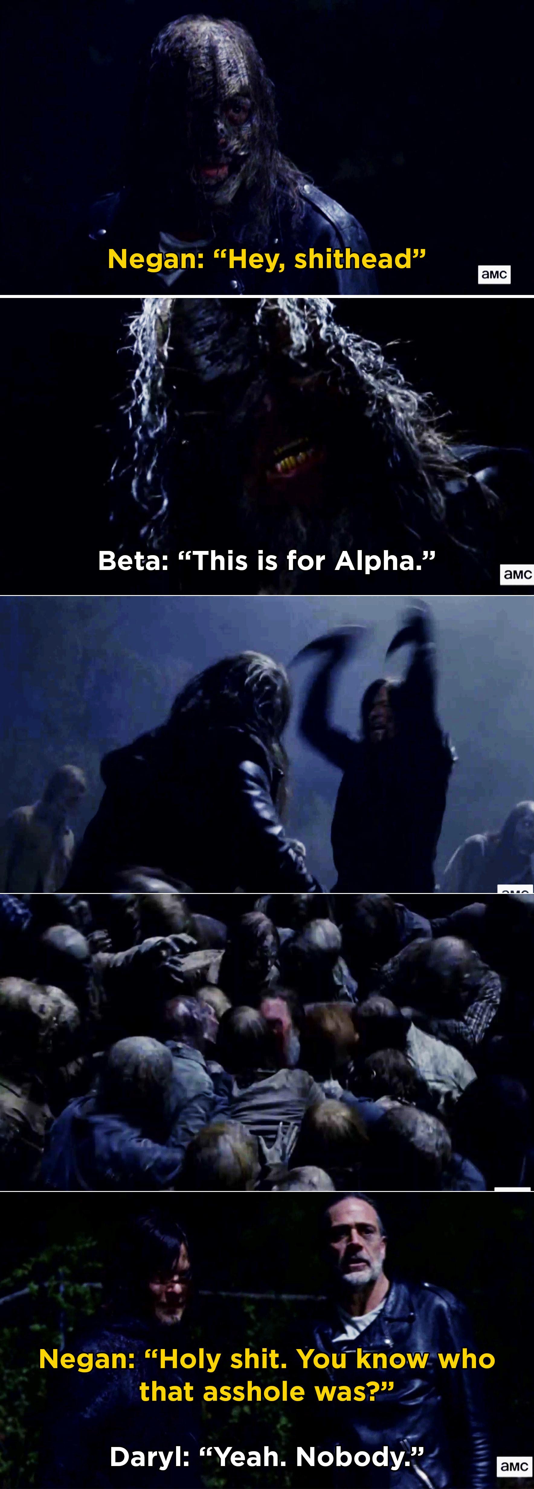 Daryl stabbing Beta and Negan being shocked he saved him