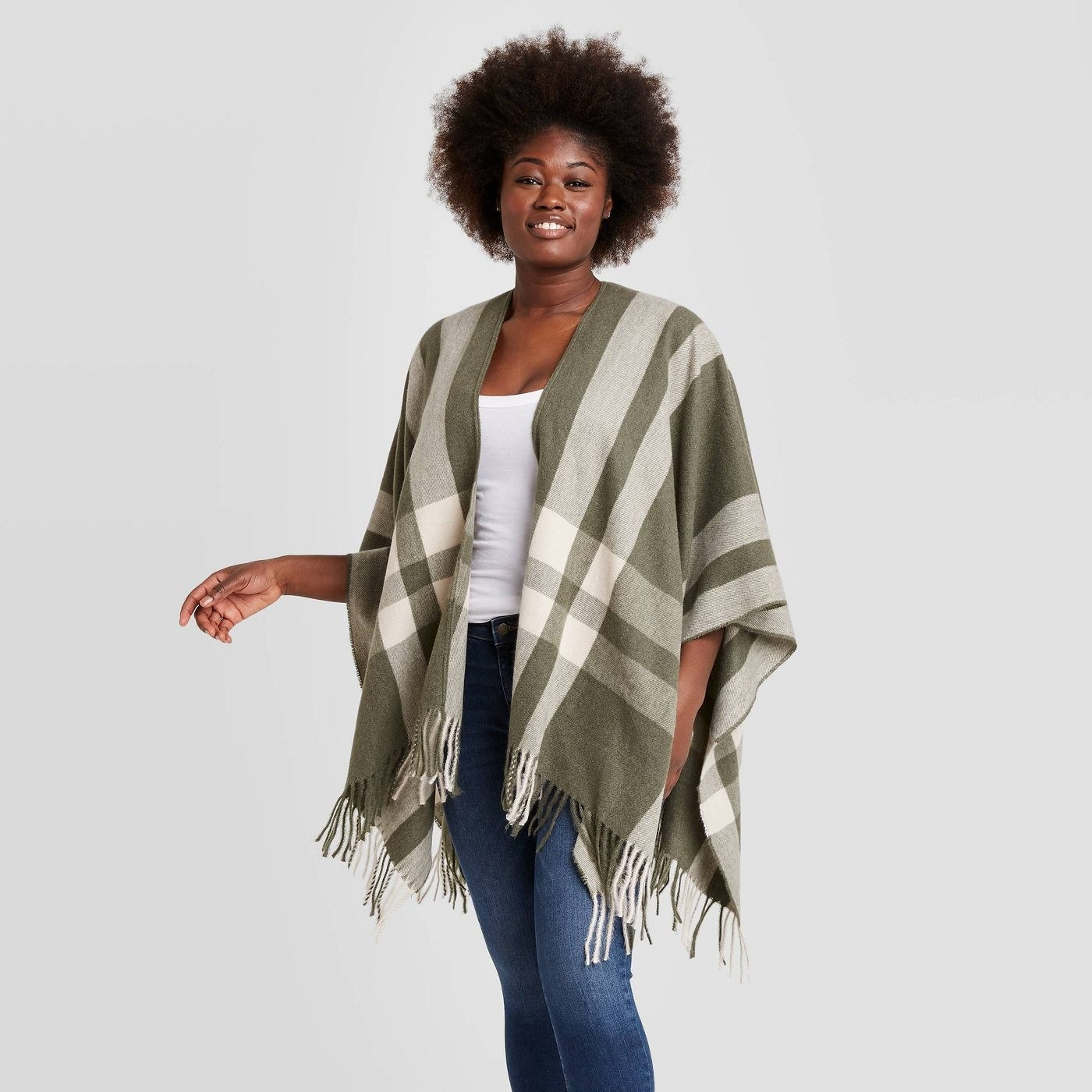 Model in plaid ruana kimono jacket