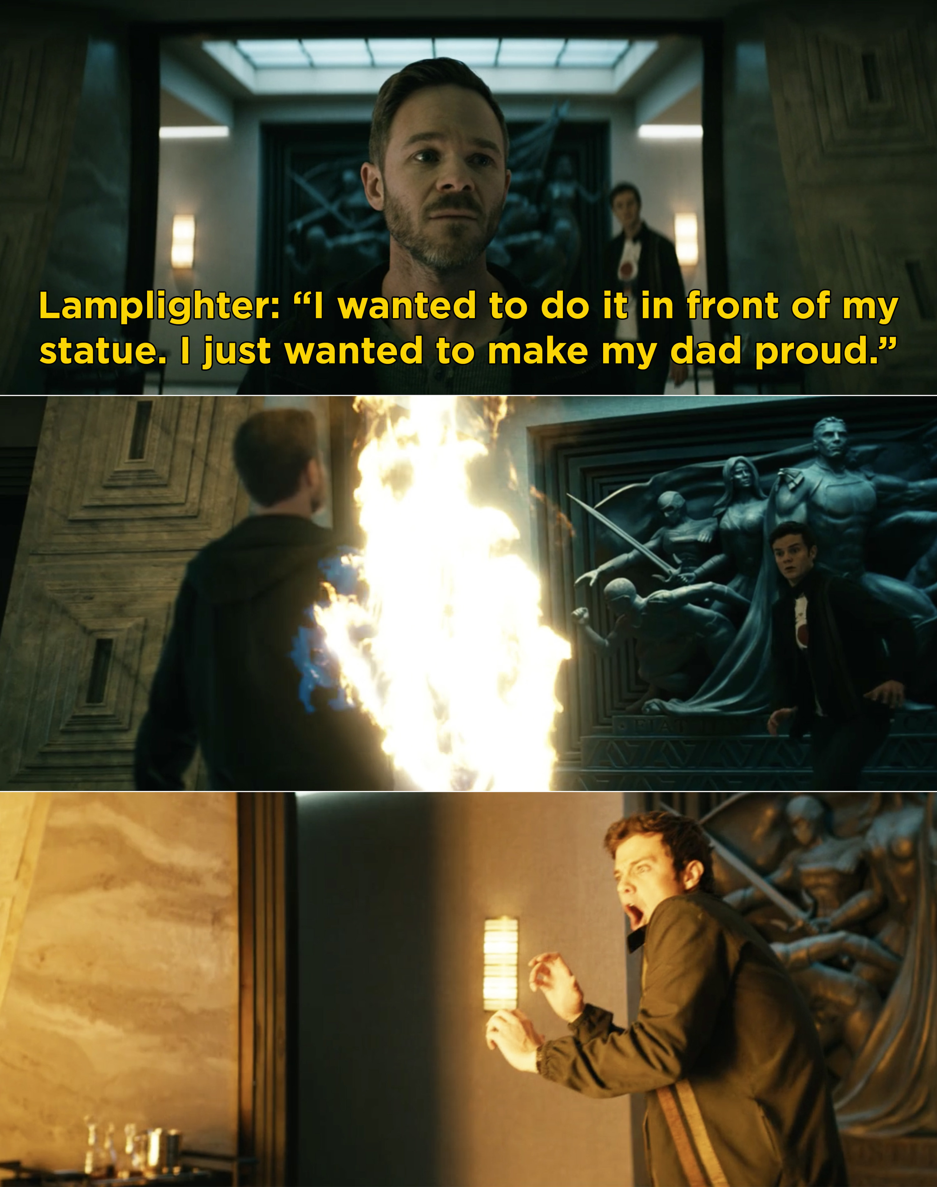 """Lamplighter saying, """"I wanted to do it in front of my statue. I just wanted to make my dad proud"""""""