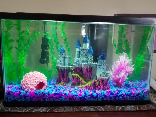 large castle decoration in a tank