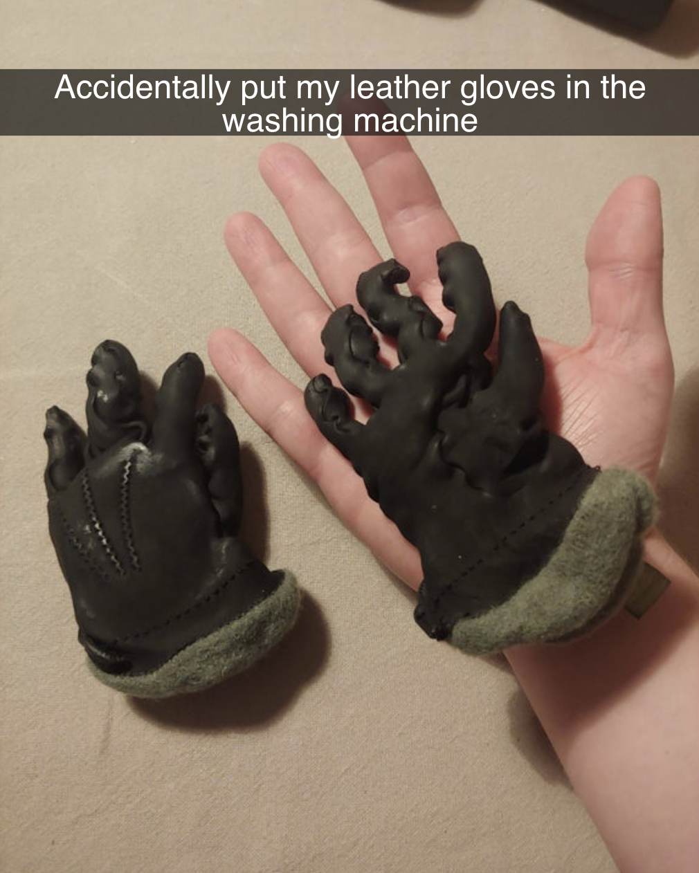 person holding tiny shriveled gloves that reads accidentally put my leather gloves in the washing machine