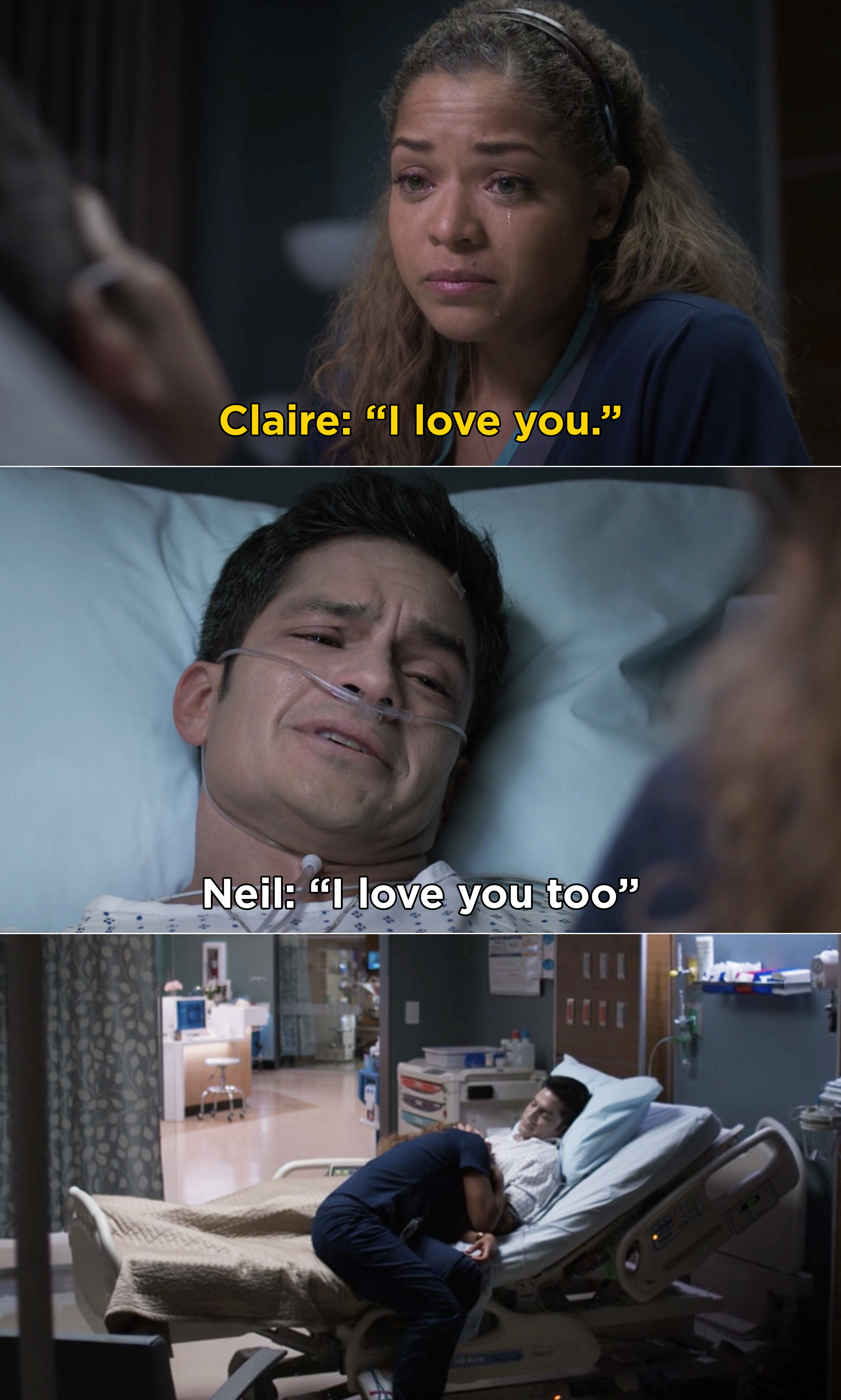 """Claire and Melendez saying """"I love you"""" to each other"""