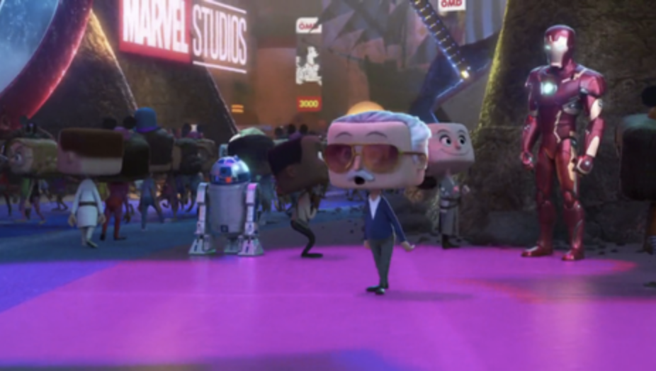 An animated Stan Lee stands with an animated Iron Man and R2-D2