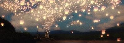 the wish lanterns over a lake print