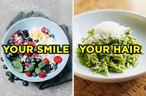"""On the left, a bowl of yogurt with berries labeled """"your smile,"""" and on the right, a bowl of pesto pasta with cheese on top labeled """"your smile"""""""