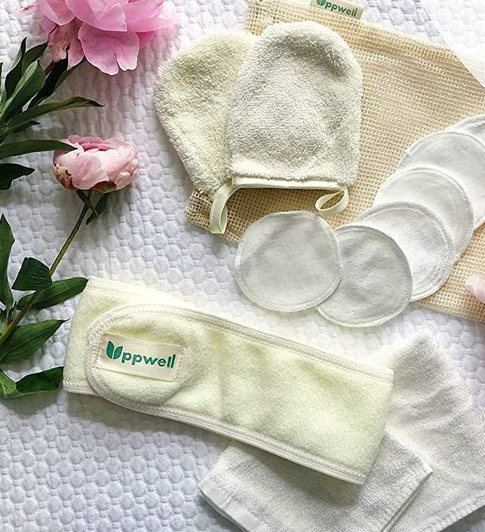 The beauty set sprawled out on a towel
