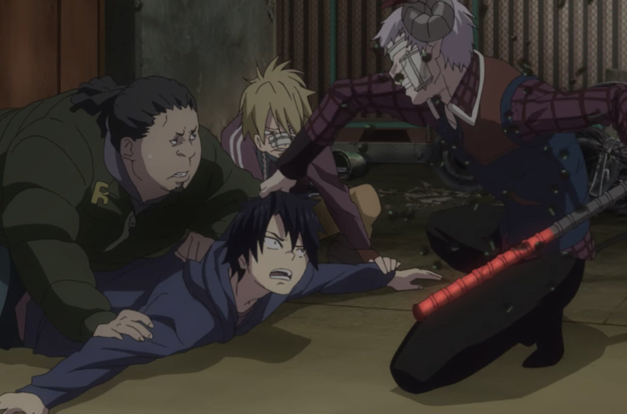 A person being pinned down by other people
