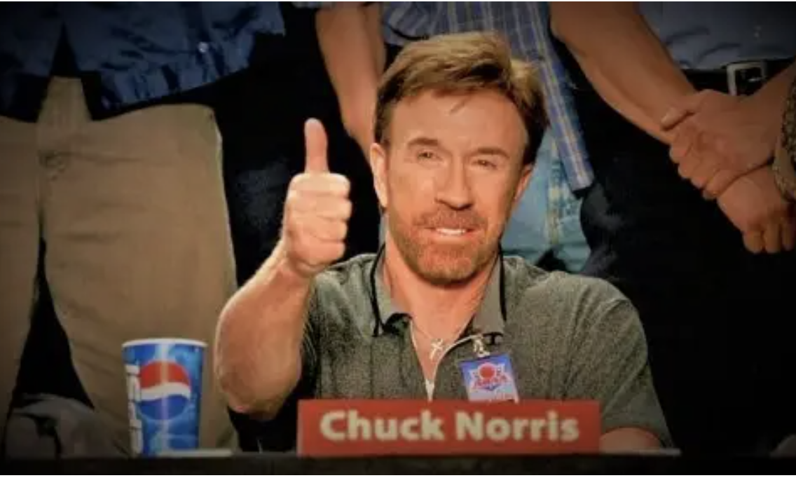 Chuck Norris giving a thumbs up