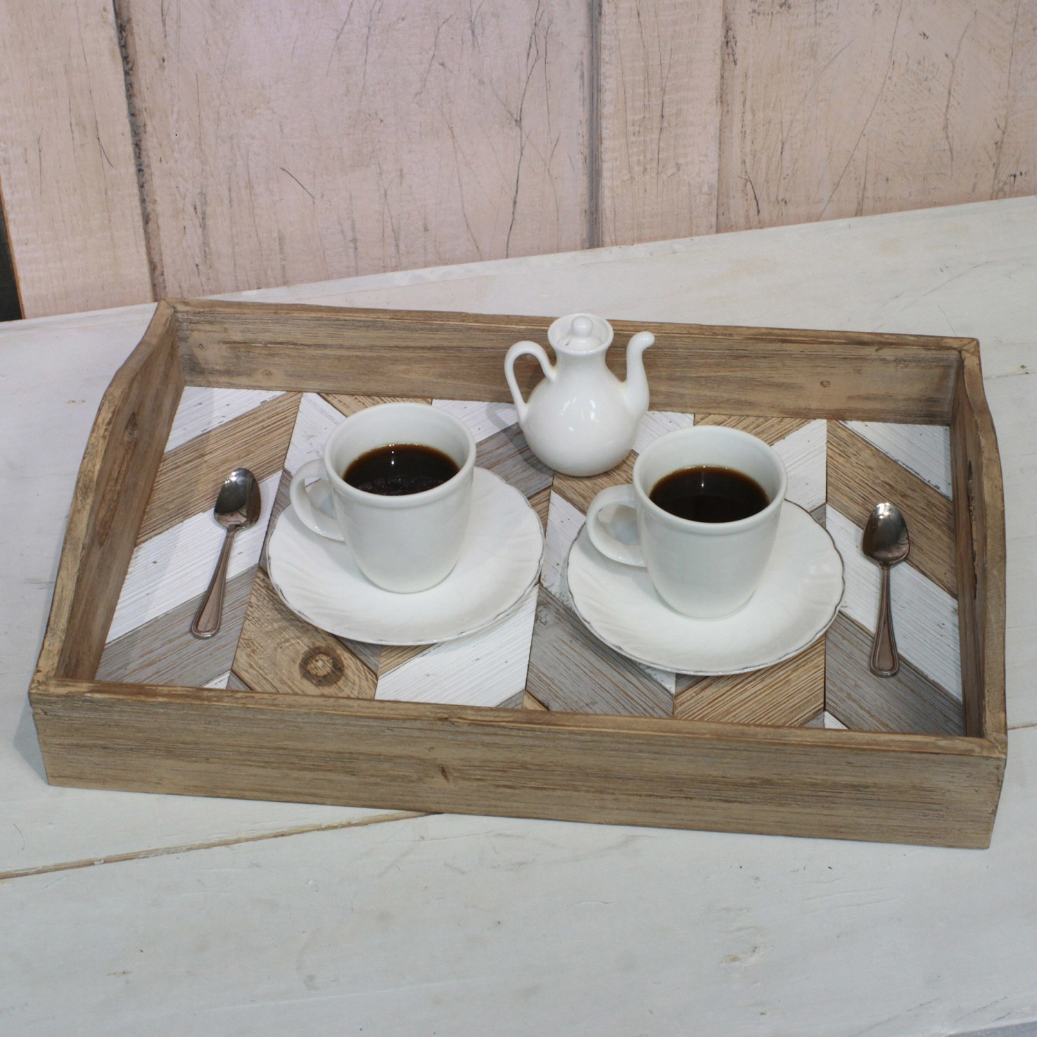 The tray with a coffee setup inside