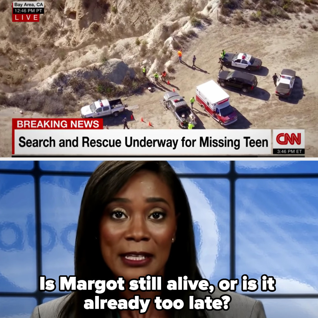 a newscaster asks if Margot is still alive or if it's too late as the screen shows footage of the search in the quarry