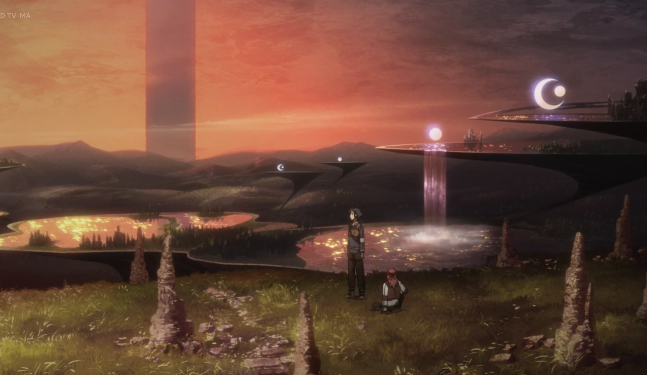 A dystopian landscape with two people