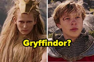 """The white witch and peter with """"gryffindor?"""" written over them"""