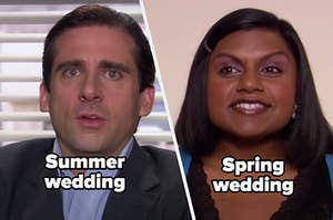 """Michael from """"the Office"""" with the words 'Summer wedding"""" and Kelly from """"the Office"""" with the words """"spring wedding"""""""