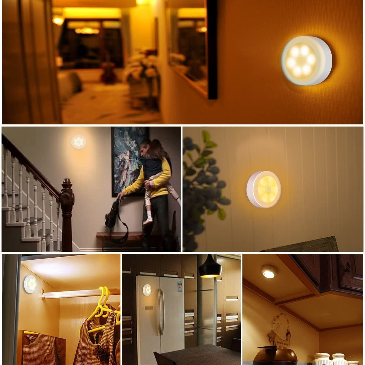 the motion light in various areas including staircase, closet, and wall