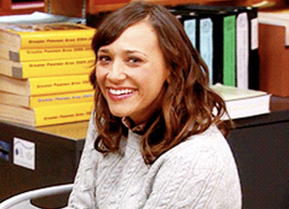 "Ann Perkins from ""Parks & Rec"" smiling at the camera"