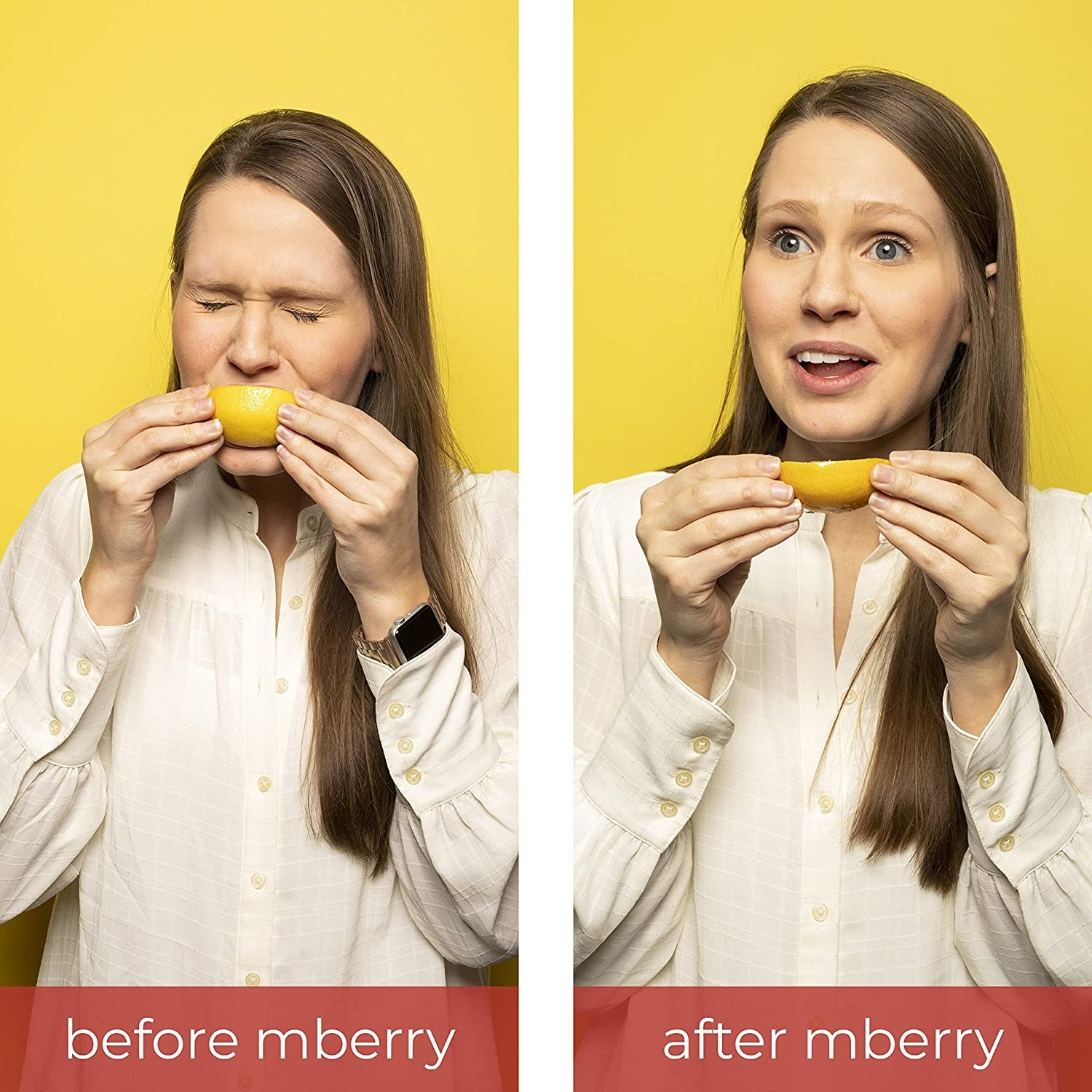 Model wincing as they eat a sour lemon before eating the tablets, and then smiling while eating the lemon after eating the tablet