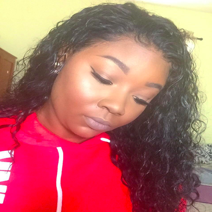 a different reviewer's baby hair laying flat after using the edge brush