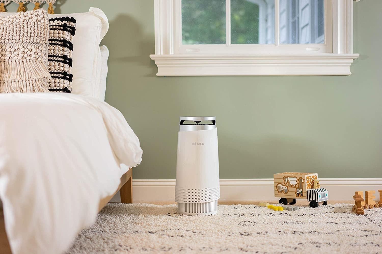 A white air purifier unit.