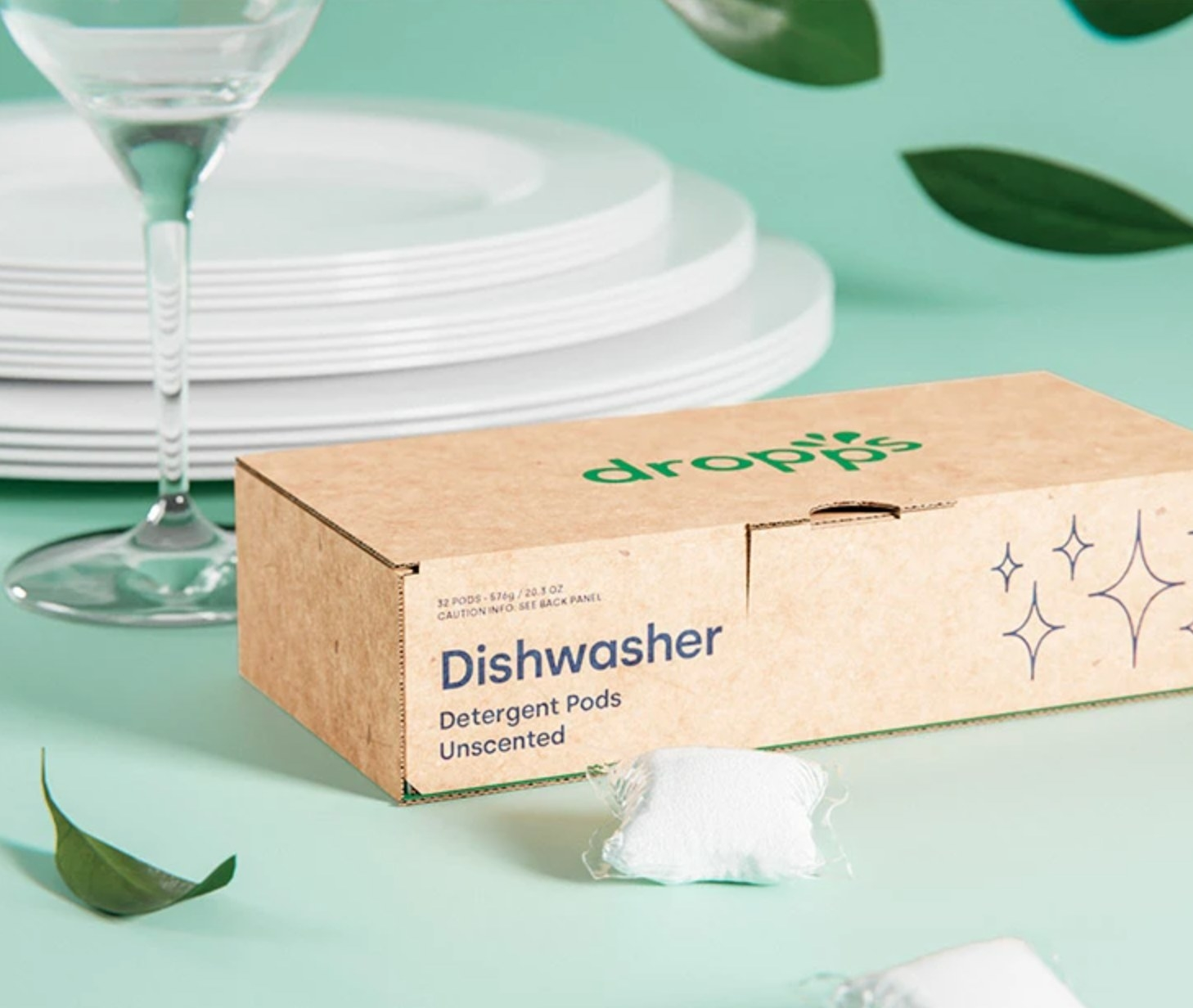 A compostable cardboard box that holds Dropps dishwasher pods.