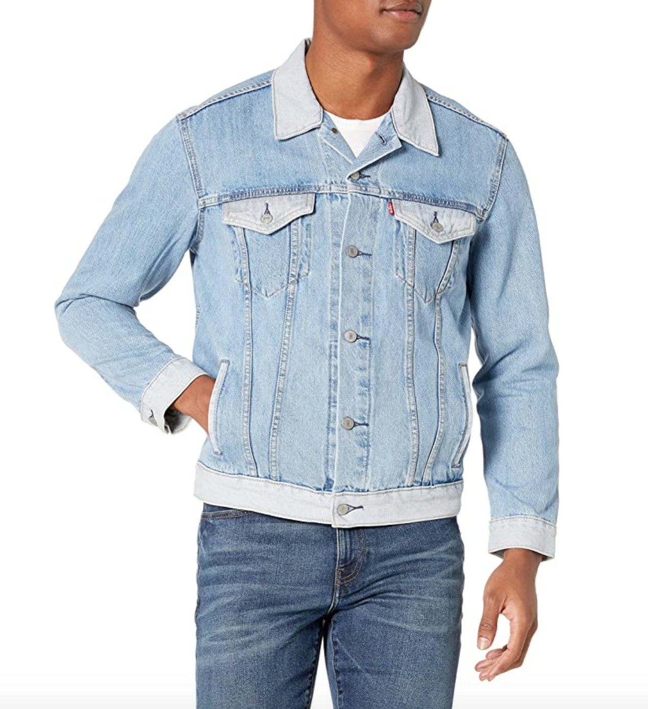 The Levi's denim jacket in faded light blue color
