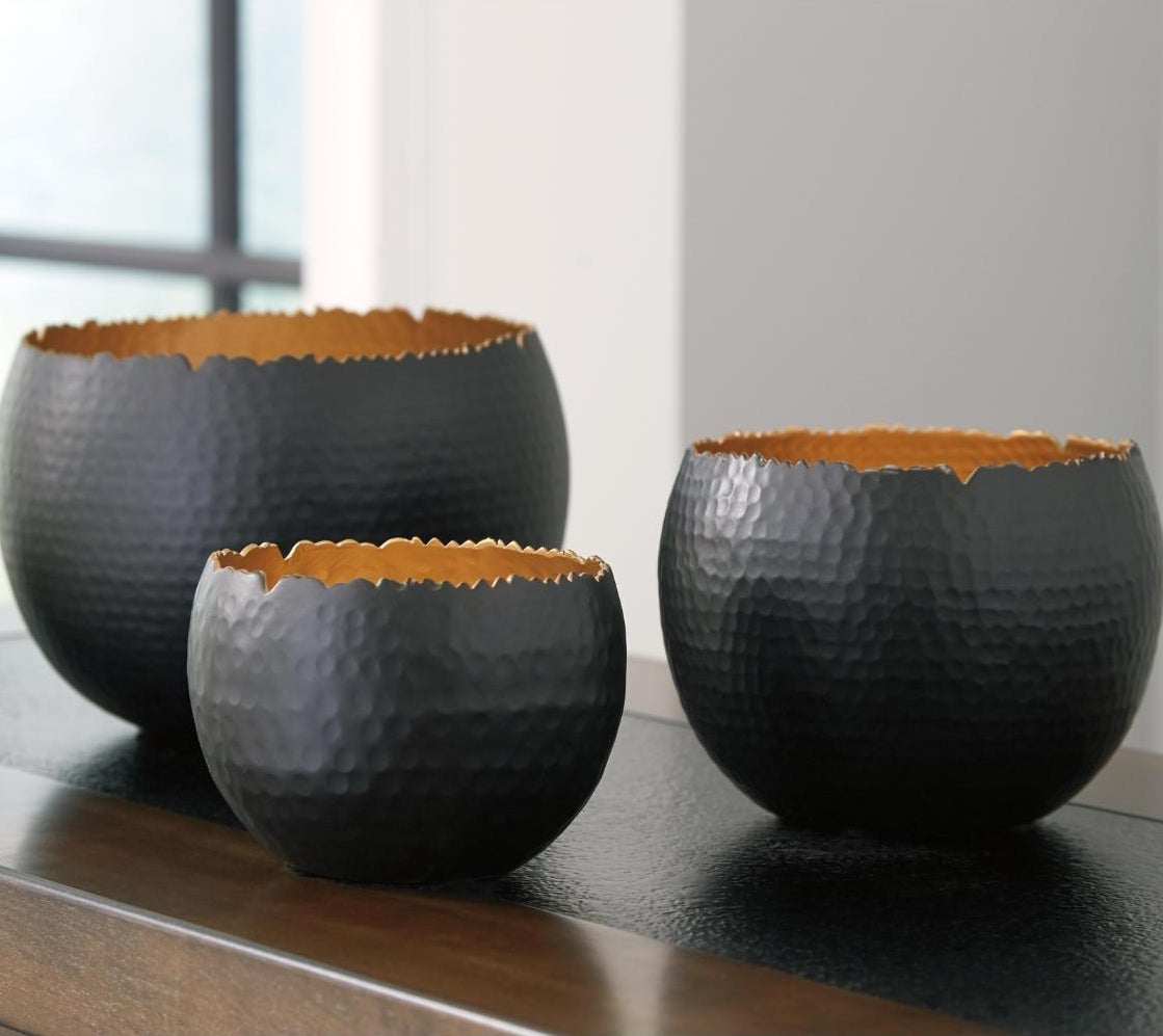 Three of the bowls in varying sizes