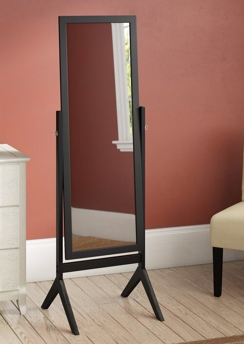 The mirror in black, which has a V-shaped base, and pins in the center which allow the mirror to pivot up or down