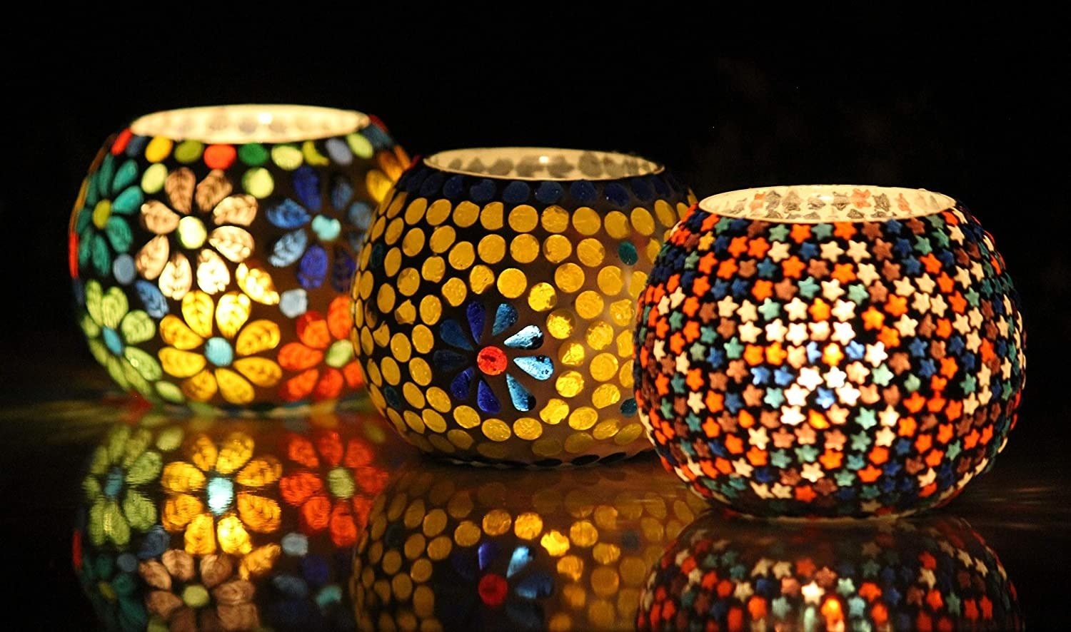 3 colourful tealight holders