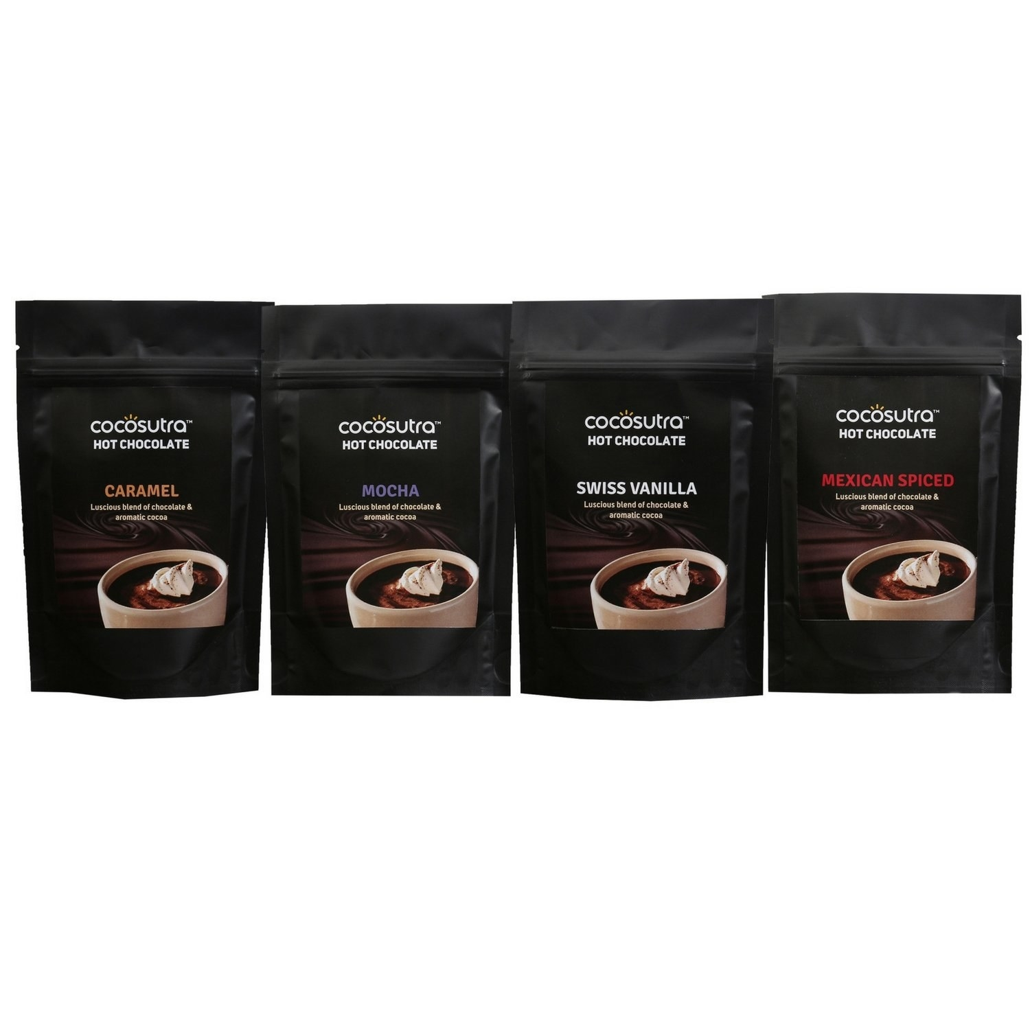 A set of 4 hot chocolate blends