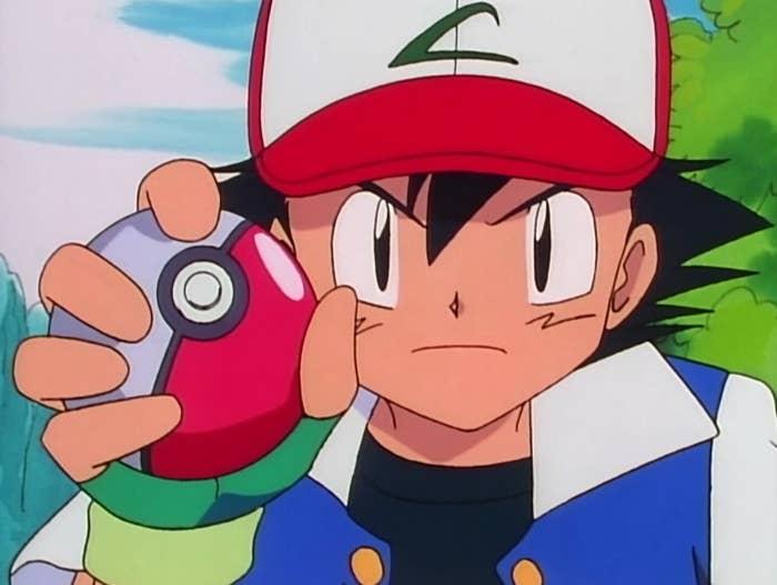 Ash with a pokeball