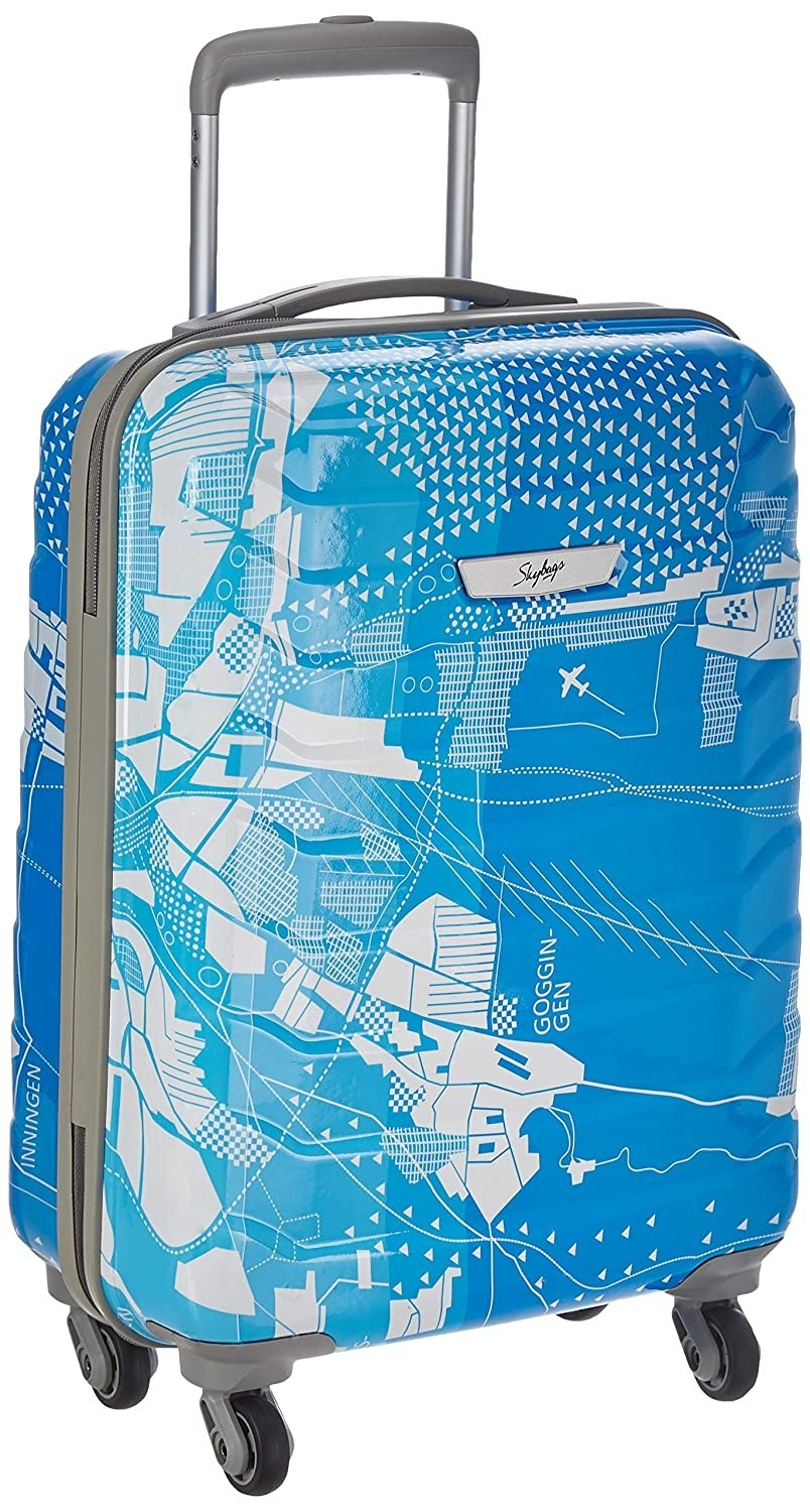 A blue and white polycarbonate suitcase.