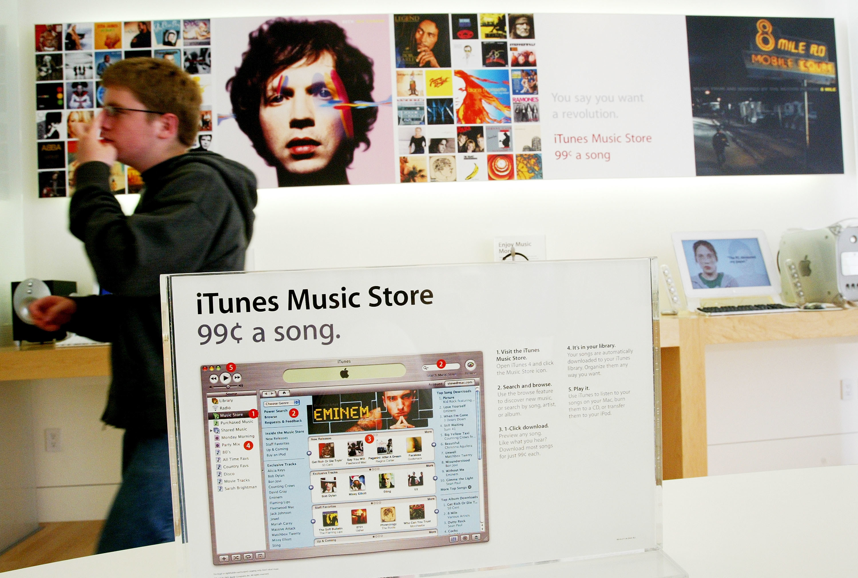 A display for Apple's iTunes Music Store in a Apple Store in Emeryville, California in 2003
