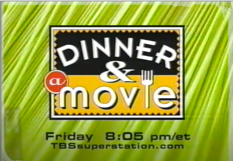 """A screenshot of for a commercial for TBS' """"Dinner & Movie"""" series which started at 8:05 pm"""