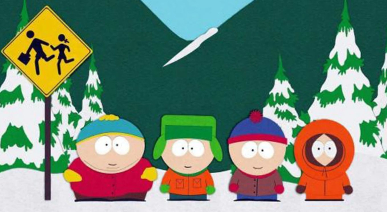 The South Park four main characters stand in a row at the bus stop