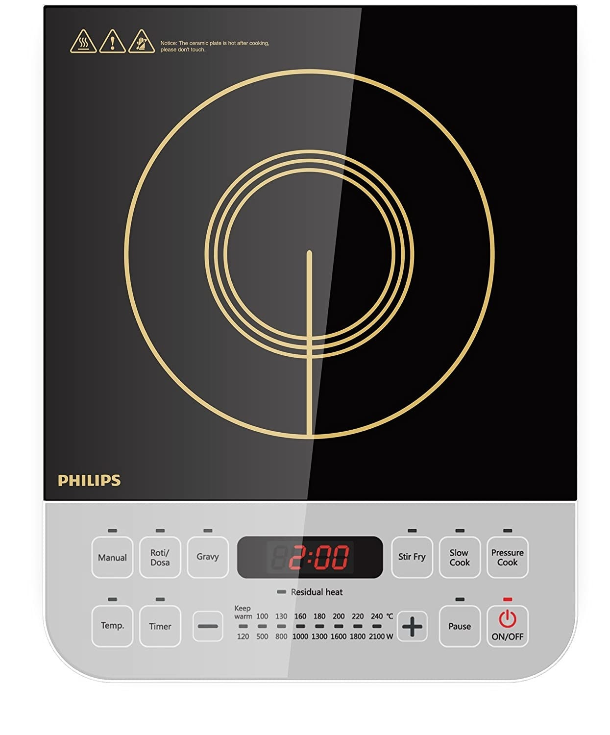 A grey and black induction cooktop