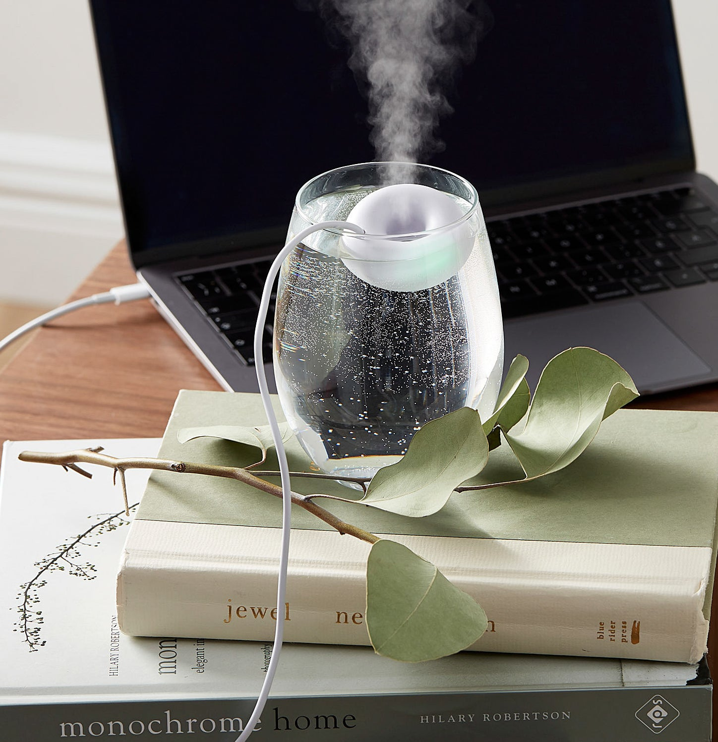 The mini humidifier in a glass of water