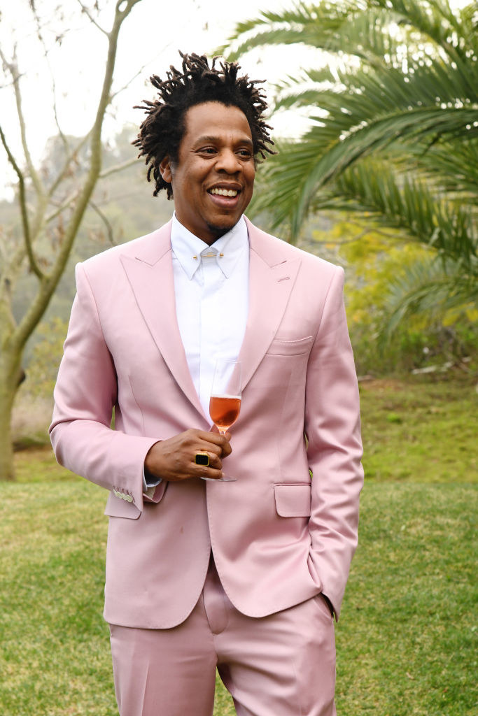 Jay-Z at the Roc Nation brunch in 2020, drinking a glass of wine/champagne