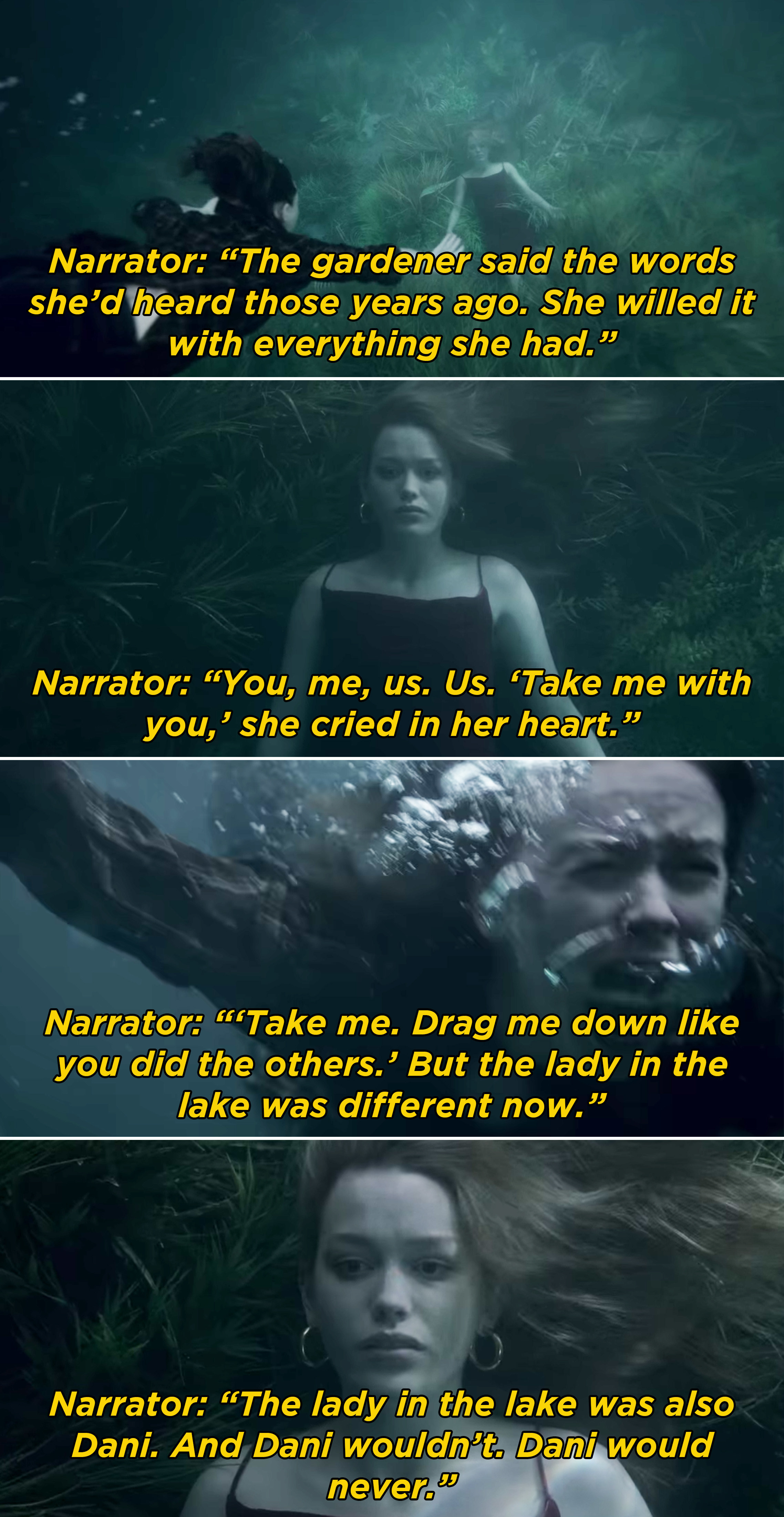 Jamie swimming to the bottom of the lake and seeing Dani and trying to get her to take her