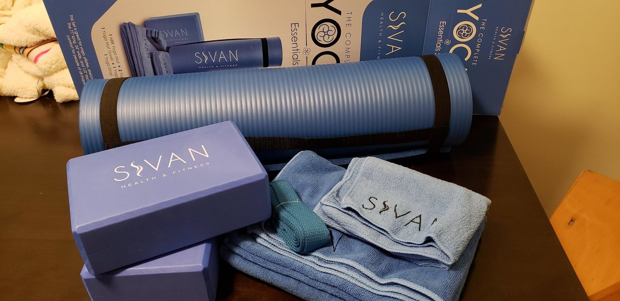 reviewer image of the sivan 6-piece yoga set on a table