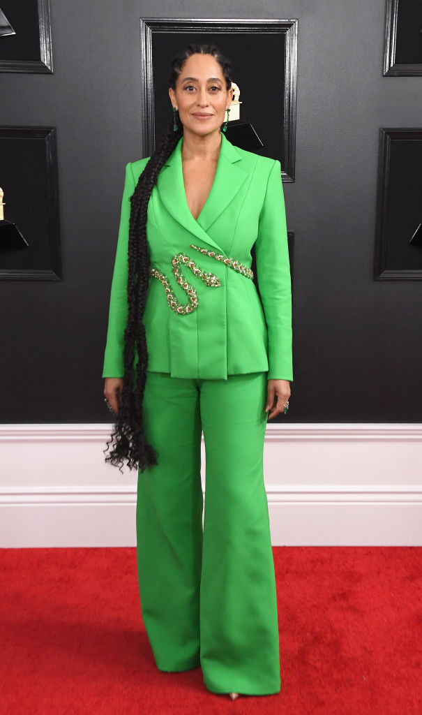 Tracee Ellis Ross at the 61st Grammy Awards red carpet wearing a colorful matching suit in 2019