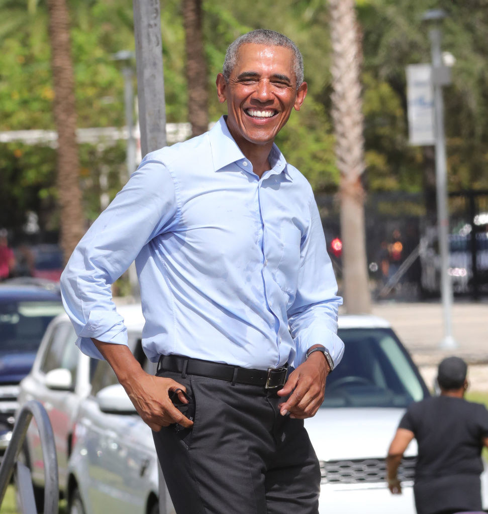 Barack Obama at a drive-in rally for Joe Biden in October 2020