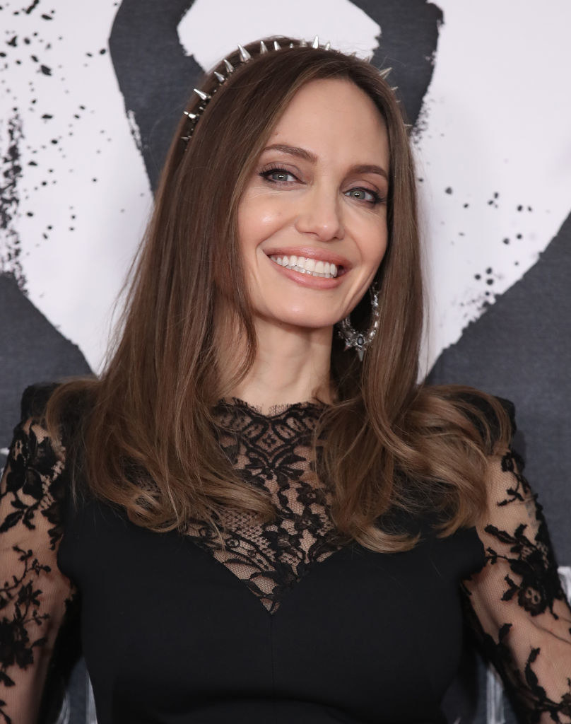 """Angelina Jolie at the """"Maleficent: Mistress of Evil"""" premiere in London, England in 2019"""