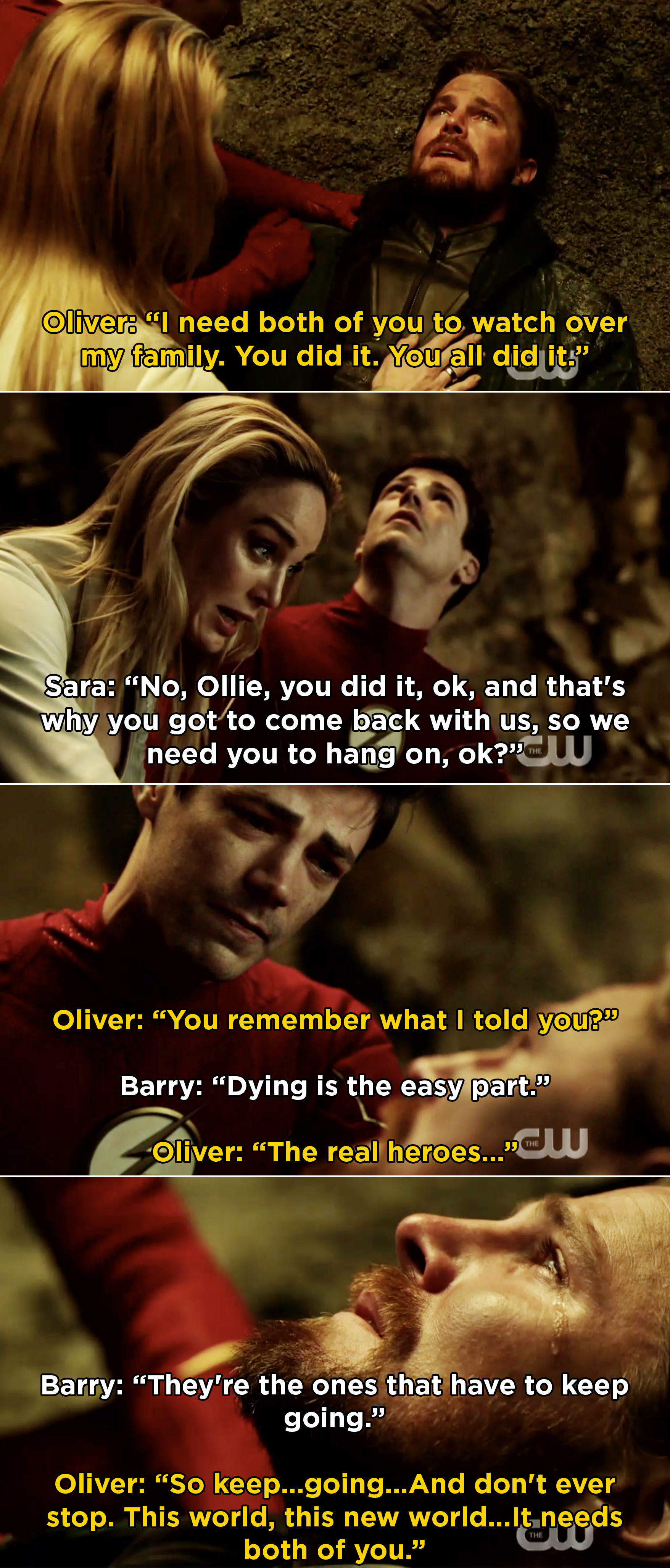 Oliver saying to Barry and Sara that dying is easy, but going on is hard