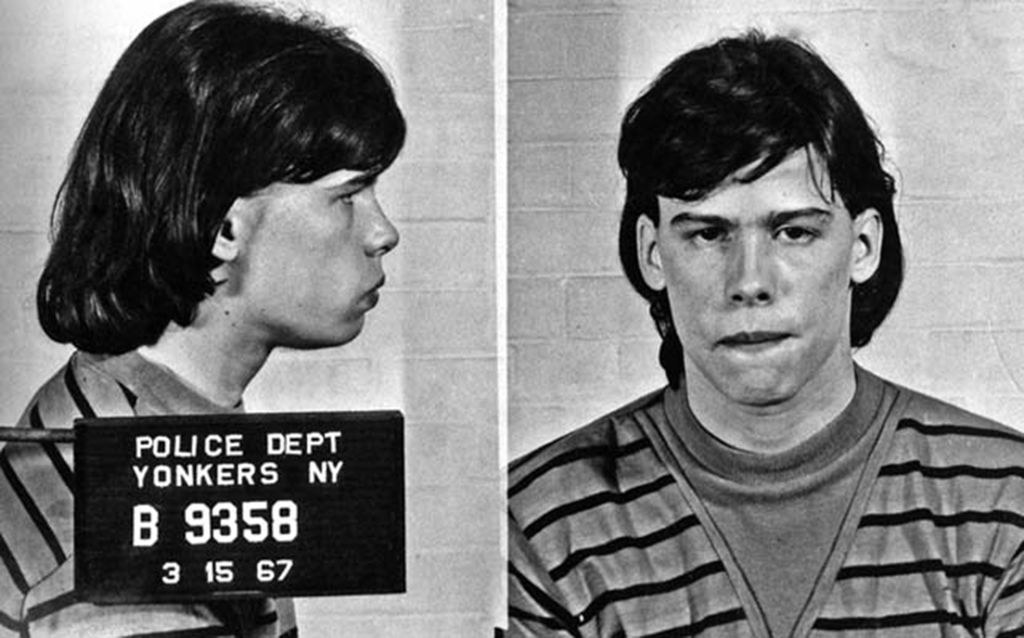 18-year-old Steven Tyler posing for a mug shot in 1967 in Yonkers, New York