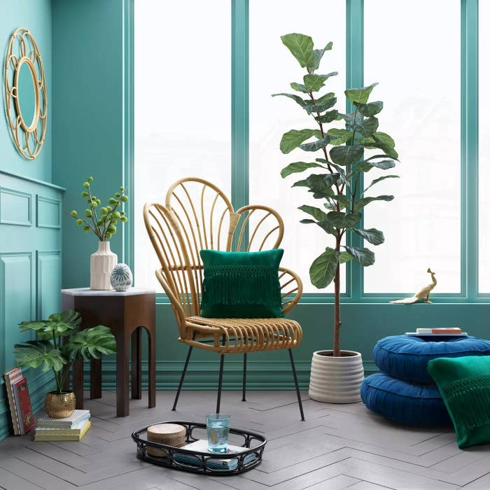 The chair in a living room decorated with a green pillow
